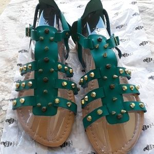 jacobies Shoes - Teal studs & spikes sandals